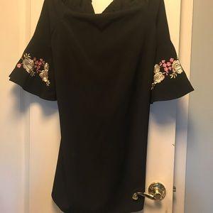 Jennifer Lopez Dresses - Off the shoulder black mini dress